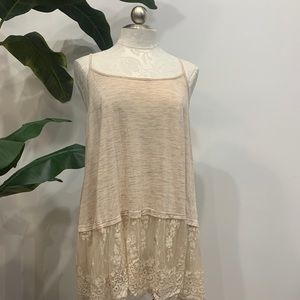 Layered Lace Cream Tank Top